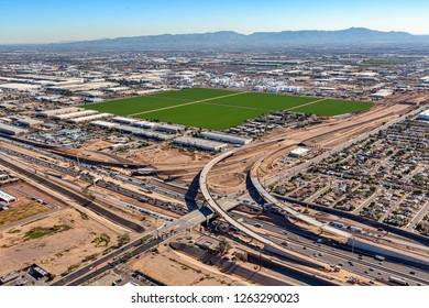 Freeway Interchange Construction at Interstate 10 and 51st Avenue in Phoenix, Arizona from above