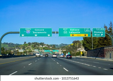 Freeway Interchange sign in east San Francisco bay, California