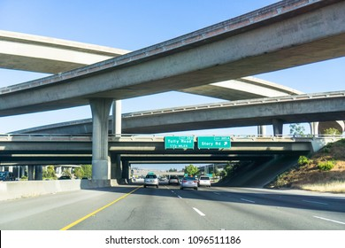 Freeway interchange, south San Jose, Santa Clara county, San Francisco bay area, California