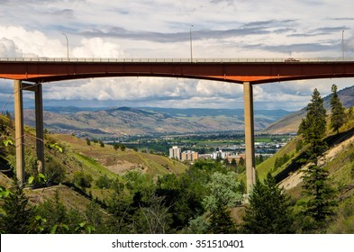 Freeway over valley in Kamloops BC Canada