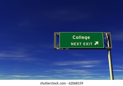 Freeway sign, next exit... College!