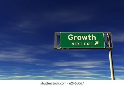 Freeway sign, next exit... Growth!