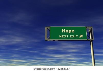 Freeway sign, next exit... Hope