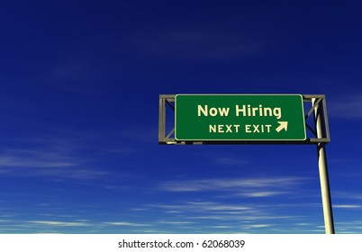 Freeway sign, next exit... Now Hiring!