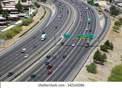 Freeway traffic along Interstate 10