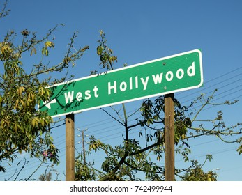 Freeway traffic signs in Los Angeles, California. Sign indicating West Hollywood