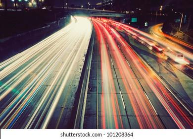 Freeway Traffic at Sunset