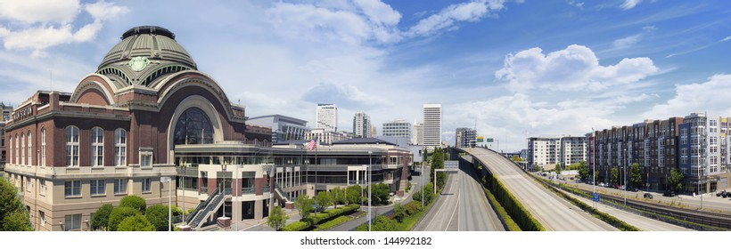 Freeways to City of Tacoma Washington with Union Station Federal Courthouse with Blue Sky and Clouds Panorama