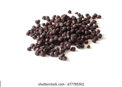 Freeze dried blueberries on a white background. Lyophilization. Food for astronauts
