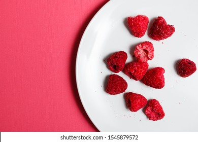 freeze dried raspberries top view