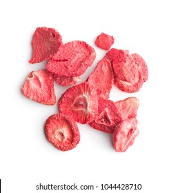 Freeze dried strawberry slices isolated on white background.