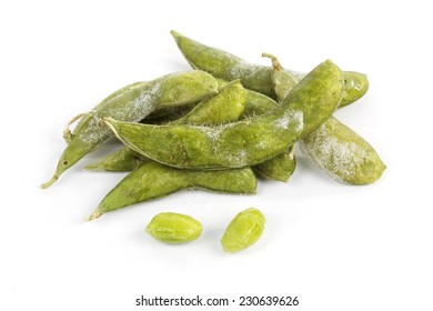 Freeze Green soybean Isolated on white background