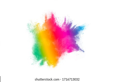 Freeze motion of colorful color powder exploding on white background.  Paint Holi.Indian festival Holi