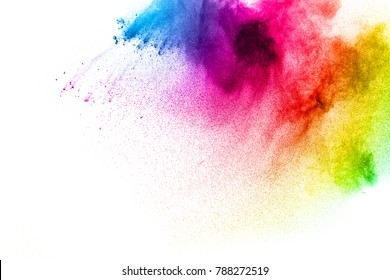 Freeze motion of colorful  painted powder exploding  on dark background. Abstract design of purple color dust cloud. Purple Particles explosion. Splash of colorful painted powder on black background.