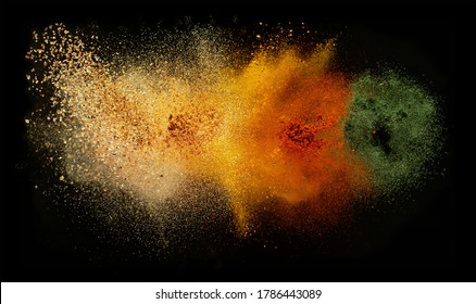 Freeze motion of various spice explosion, abstract culinary background. Isolated on black background - Shutterstock ID 1786443089