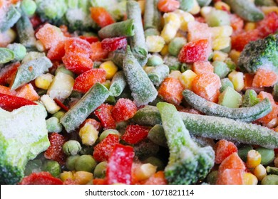 Freeze vegetables for fresh health dinner. Diet mixed organic ingredients for vegetarian salad