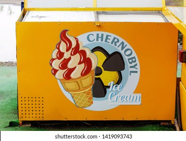 a freezer with Chernobyl ice cream in a Chernobyl souvenir shop in Chernobyl exclusion zone in Ukraine, on June 7, 2019.