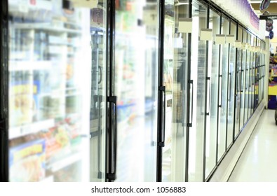 freezer in grocery store