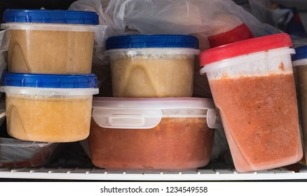 A freezer packed homemade soup is shown