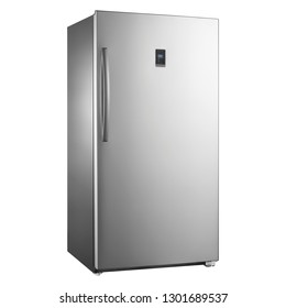 Freezerless Refrigerators Isolated on White Background. Side View of Stainless steel 17.0 Cu. Ft. Full Frost Free Upright Wi-Fi Convertible Freezer. Modern Kitchen and Domestic Appliances