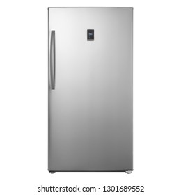 Freezerless Refrigerators Isolated on White Background. Front View of Stainless steel 17.0 Cu. Ft. Full Frost Free Upright Wi-Fi Convertible Freezer. Modern Kitchen and Domestic Appliances