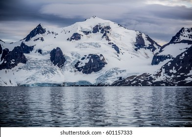 Freezing cold mountains of the arctic north pole