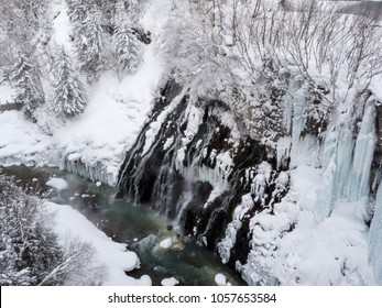 Freezing Shirahige Waterfall in winter, Biei, Hokkaido, Japan