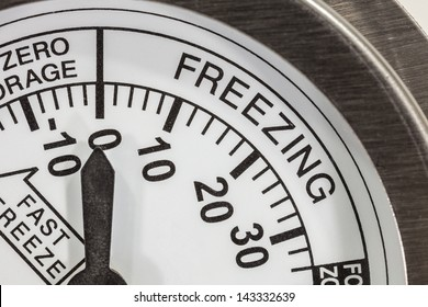 Freezing zone refrigerator thermometer macro detail.