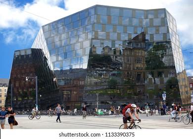 FREIBURG, GERMANY - JUNE 29, 2018: Modern architecture of the University Library of Freiburg Im Breisgau, Germany