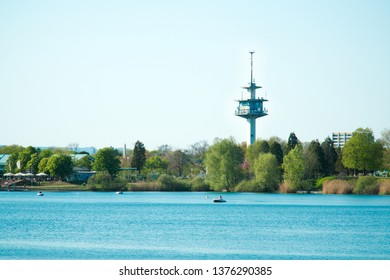 Freiburg Germany Lake Park with Mobile Tower in the back