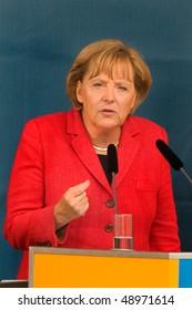 FREIBURG, GERMANY - SEPT 3 : German Chancellor Angela Merkel gives a speech on September 3, 2009, Freiburg, Germany