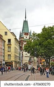 FREIBURG IM BREISGAU. GERMANY. 23 JUNE 2009 : Martinstor - Gate of Martin in Freiburg im Breisgau. Germany