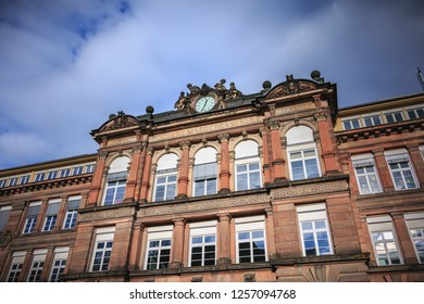 freiburg im breisgau, Germany - 31 december 2017: architectural detail of the Goethe-Gymnasium School, a public school in the historic city center