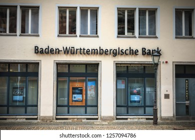 Freiburg im Breisgau, Germany - December 31, 2017: architectural detail of an agency of the German bank BW Bank on a winter day