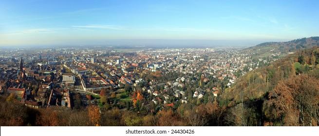 Freiburg im Breisgau (Germany) in the Fall, panoramic view