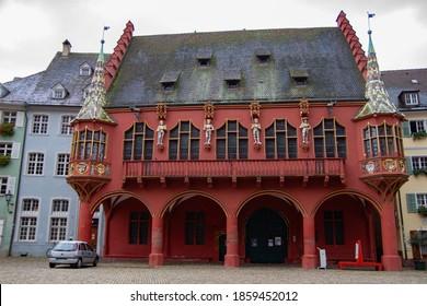 Freiburg im Breisgau/Germany - 10 28 2012: Trade house on the  main square of Freiburg