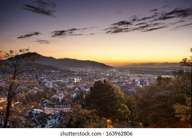 Freiburg at sunset