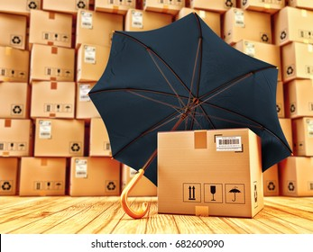 Freight cargo protection and package safety assurance concept, cardboard box with barcode under umbrella in the parcel warehouse, 3d illustration
