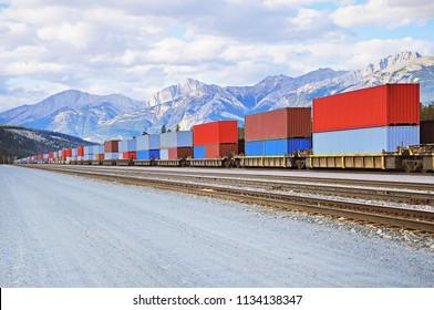 Freight comtainer train in Jasper. Alberta. Canada.