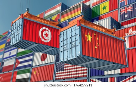 Freight containers with Tunisia and China flag. 3D Rendering