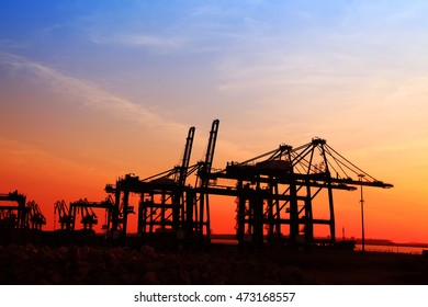 Freight dock of container crane at night
