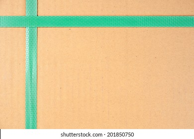 freight parcel with plastic strap background