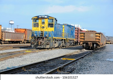 Freight Station with trains, train cargo. CSX train on the station of Baltimore, USA