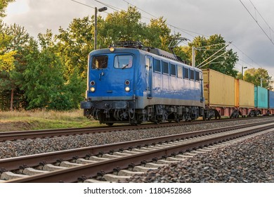 Freight train with E - locomotive