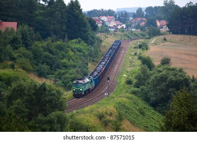 Freight train hauled by the diesel locomotives passing the forest