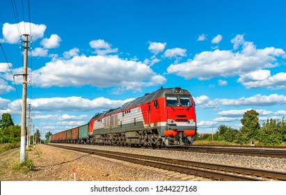 Freight train at Konyshevka station in Kursk Oblast of Russia