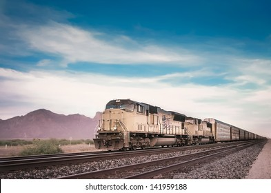 Freight train locomotive in Arizona, USA