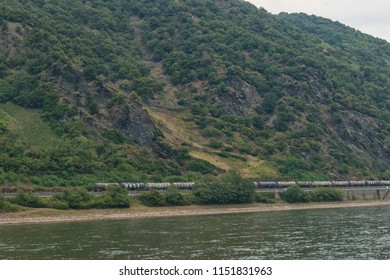 Freight train near the Rhine in the UNESCO World Heritage in the Upper Middle Rhine Valley, Germany