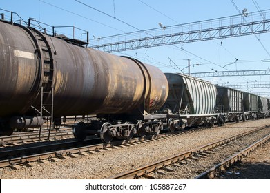 Freight train on city cargo terminal