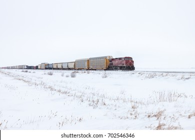 Freight Train On Horizon in Canadian Winter